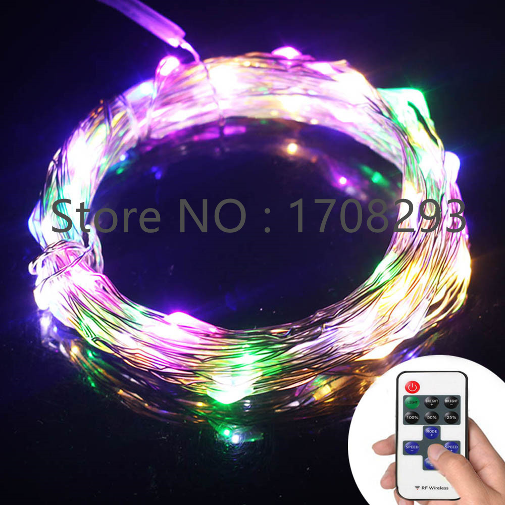 10m 100 Leds Silver Wire/Copper Wire RGB LED String Lights Starry Lights Fairy lights+12V Power Adapter+Remote Control