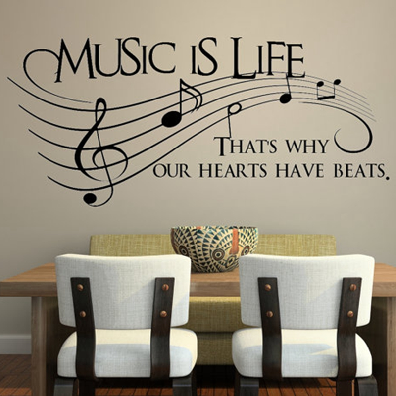 Music is life.. That's why our hearts have beats –  Vinyl Wall Decal Sticker Music , musical wall art decoration free shipping