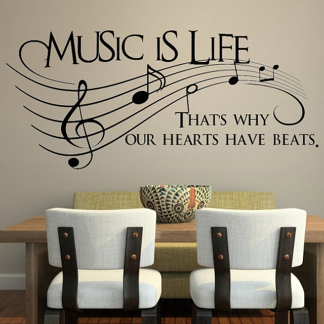 Music Is Life That 39 S Why Our Hearts Have Beats Vinyl Wall Decal Sticker Music Musical Wall
