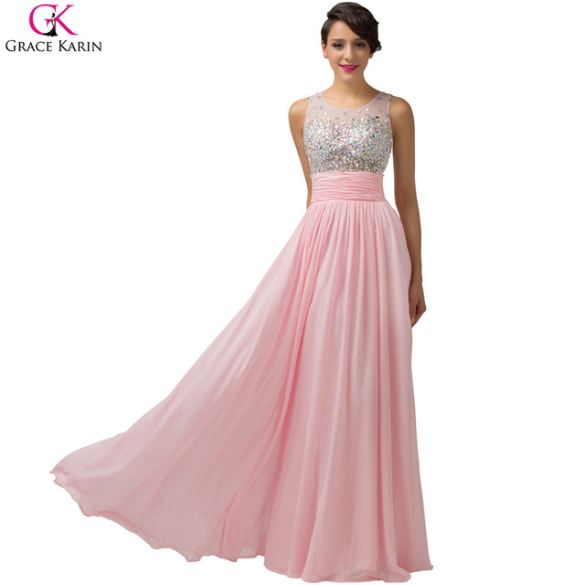 Long Evening Dresses Grace Karin Transparent Beaded Sleeveless Chiffon  Formal Dress Elegant Gowns Dinner Party Evening Dresses c24007bc932a