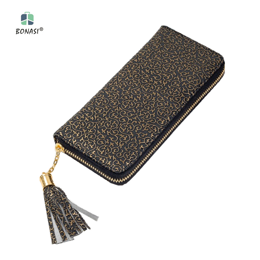 2018 New Flower Leather Vintage Long European Simple Large Capacity Women Wallet Clutch Zipper Change Purse Hasp Money Bag dollar price new european and american ultra thin leather purse large zip clutch oil wax leather wallet portefeuille femme cuir