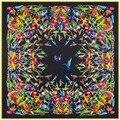 2017 ar lujo nueva llegada de la marca de lujo 100% seda de la tela cruzada mujer bufanda y chales hijab bufandas cuadradas de la bufanda de aves fénix 3 color