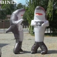 Custom funny animal walking mascot inflatable shark costume for halloween party stage cosplay