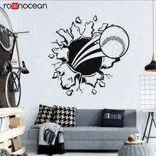 3D Flying Fire Baseball Bursting Through The Wall Art Mural Vinyl Waterproof Stickers Decor Nursery Decal Sticker 3Y08