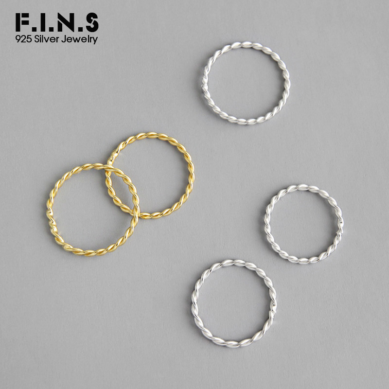 F.I.N.S Minimalist S925 Sterling Silver Rings for Women Two-tone INS Style Twist Slim Ring Fine Jewelry Silver 925 Ring(China)