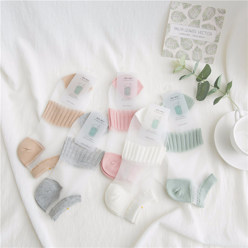 SP&CITY Solid Transparent Summer Cool Thin Boat Socks Women Harjuku Patterned Chic Invisible Socks Slippers Casual Funny Socks