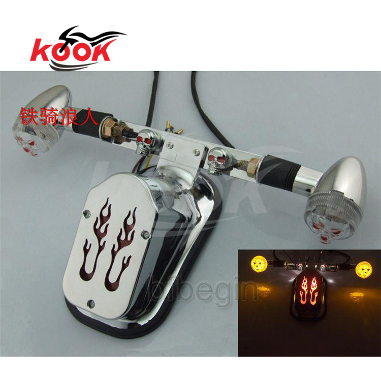 chrome motorcycle tail light for Harley Davidson LED motorbike brake lights fire decals rear indicator with turn signal lamp red