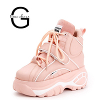 Gtime New Super fire fashion retro high top Height increasing women's boots thick soled sell well casual women Booties XJJ320