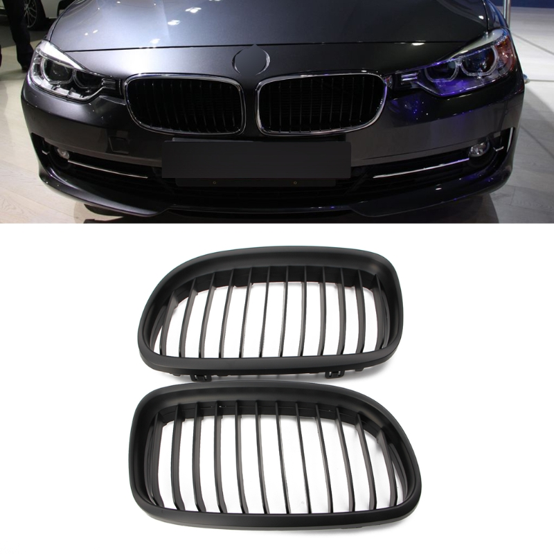 Matte Black Front Kidney Grill Grille For BMW E90 E91 LCI 325i 328i 335i 08-11 pair abs replacement gloss matt black m color 2 line kidney grille for bmw e90 e91 lci 325i 328i 335i 4door 2009 2010 2011 2012