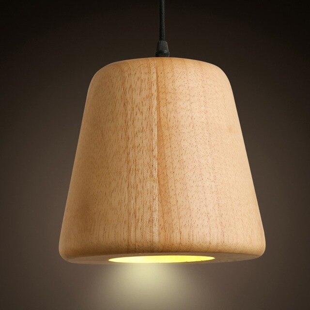 Natural Wood Made Pendant Drop Light Diy Craft Art Bar Cafe Hanging Droplight