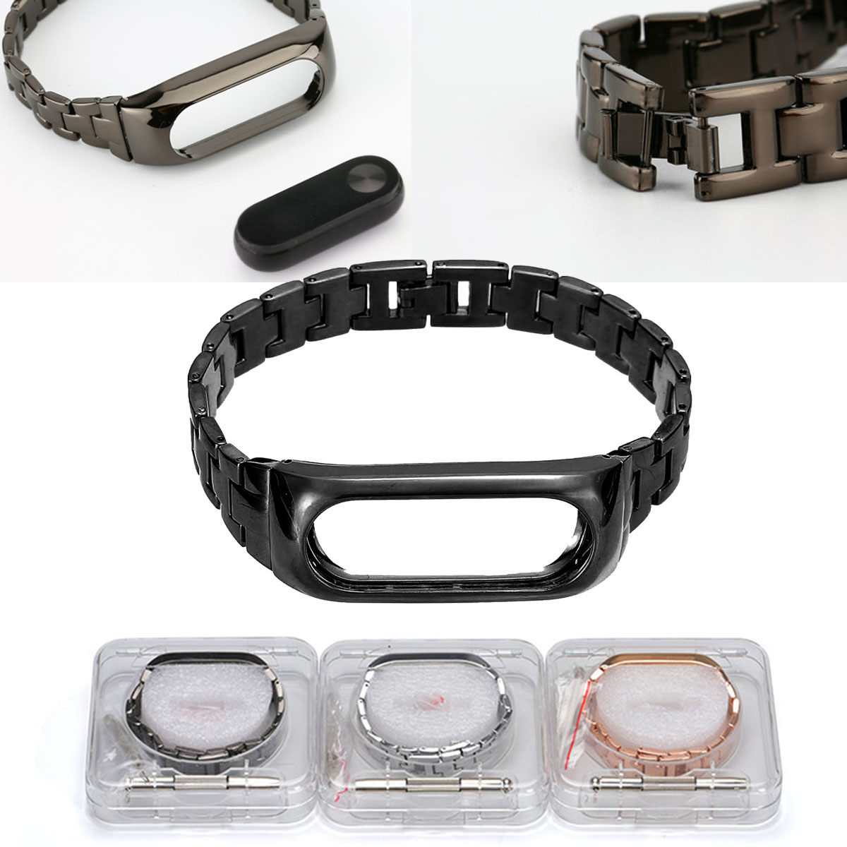 Stainless Steel Case Frame Wristbands Replacement Bracelet Watch Strap With Tool For Xiaomi/Miband 2 Smart Watches Accessories original xiaomi steel net watch band for miband