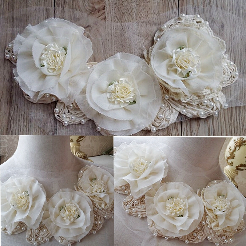 Pearl Beaded Chiffon Appliques Satin Flowers Appliques With Rhinestone For DIY Dress Shirt Collar 1 pcs