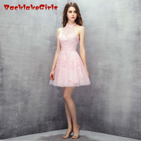 BacklakeGirl 2017 Princess Pink Sexy Mini Short Evening Dress Appliques Beads Halter Zipper Customized Porm Celebrity