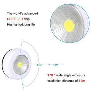 Image 5 - Cob Led Cordless Stick Tap Kledingkast Touch Light Lamp 3W Batterij Aangedreven Keukenkast Kast Push Tap Home Stok op Lamp Blub