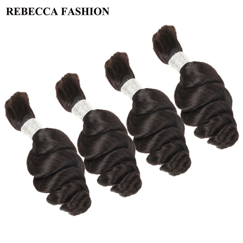 Rebecca Hair Malaysian Hair Bundles Loose Wave Human Hair Bulk 4 Bundles Remy Braiding Hair Extenions Natural Color