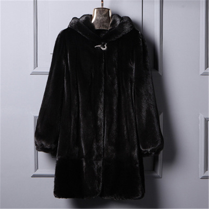 Новинка 2018 плюс размер S-6XL Женское зимнее Свободное пальто с искусственным мехом с капюшоном длинные Теплый искуственный мех куртки верхня...