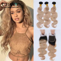 Guanyuhair 1B/27 Honey Blonde Hair Bundles With Closure Brazilian Body Wave Remy Human Hair Weave 3 Bundle with 4X4 Lace Closure