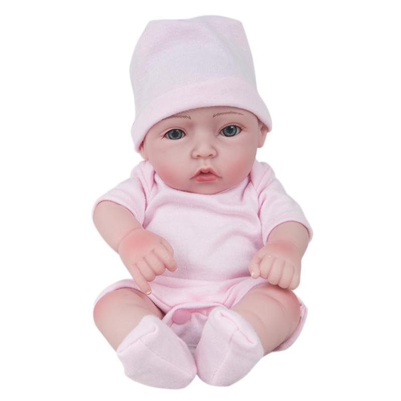 30CM Cute Reborn Dolls Lifelike Baby Simulation Reborn Doll Toy Soft Silicone Newborn Baby Birthday Soft Gift Doll Pink цена