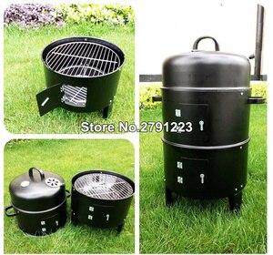 Image 4 - Metal 3 in 1 barbekü ızgara kavurma sigara içen vapur barbekü ızgara taşınabilir açık kamp kömür sobası pişirme araçları aksesuarları