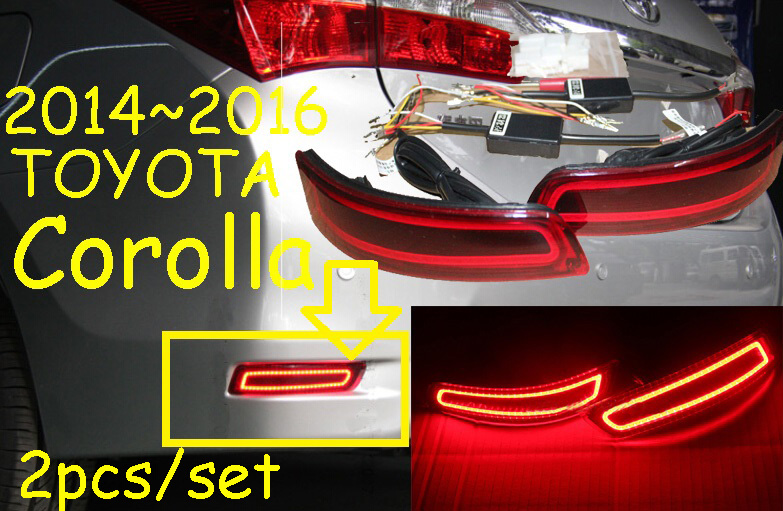 Corolla rear light,Altis;2014~2015,LED,free ship!Corolla rear lamp,vios,camry,Hiace,tundra,Corolla taillight,Corolla fog light new for toyota altis corolla 2014 led rear bumper light brake light reflector novel design top quality fast shipping