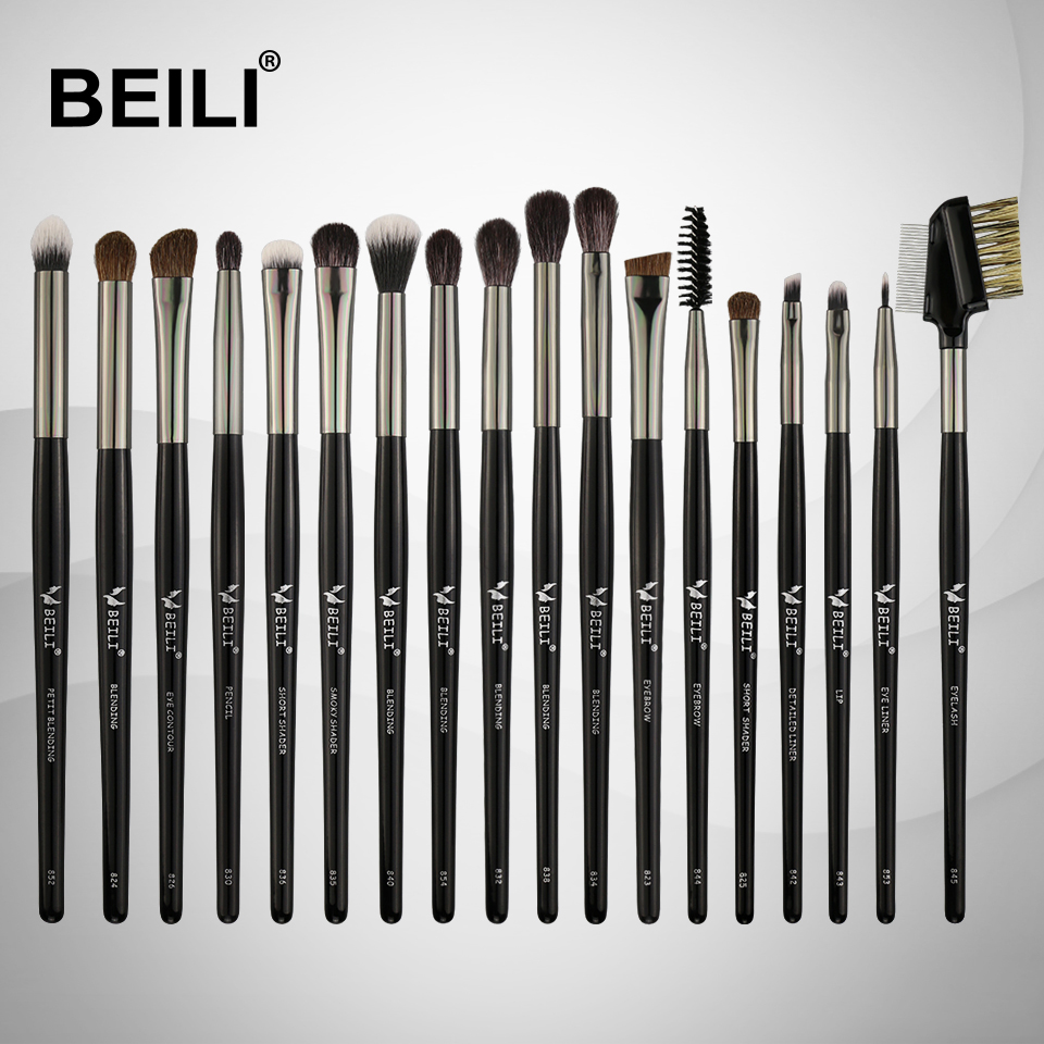BEILI Goat Hair Pony Synthetic Foundation Eye shadow Contour liner Lip Makeup Brushes Set 18 Pieces цена