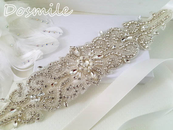 Hot sale Rhinestones wedding sash pearls Beaded Wedding Belt Design Diamond Crystal appliques Bridal Belt