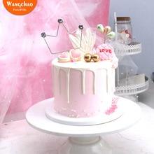 Iron Diamond Crown Cake Topper Baking Decoration for Party Supplies Royal Princess Theme Happy Birthday Cupcake