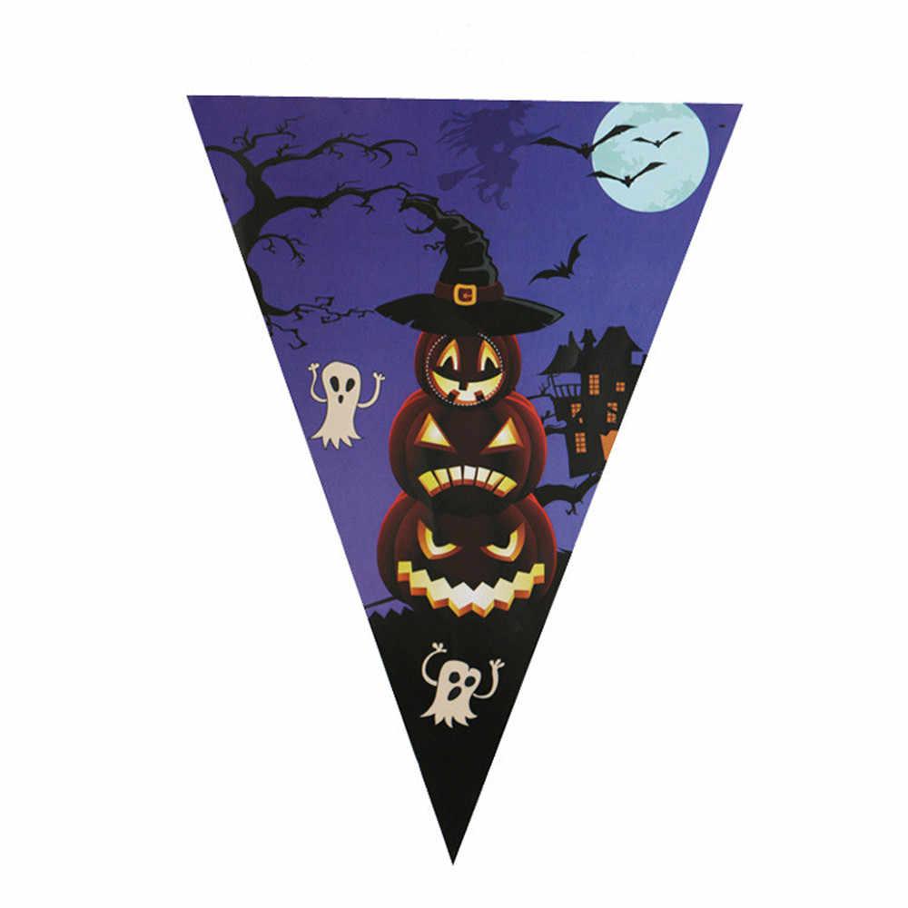 10 ธง 2.5 เมตร Handmade ฮาโลวีนผ้า Bunting ธงแบนเนอร์ Garland หน้าแรกตกแต่ง DIY Party หมวกการ์ตูน