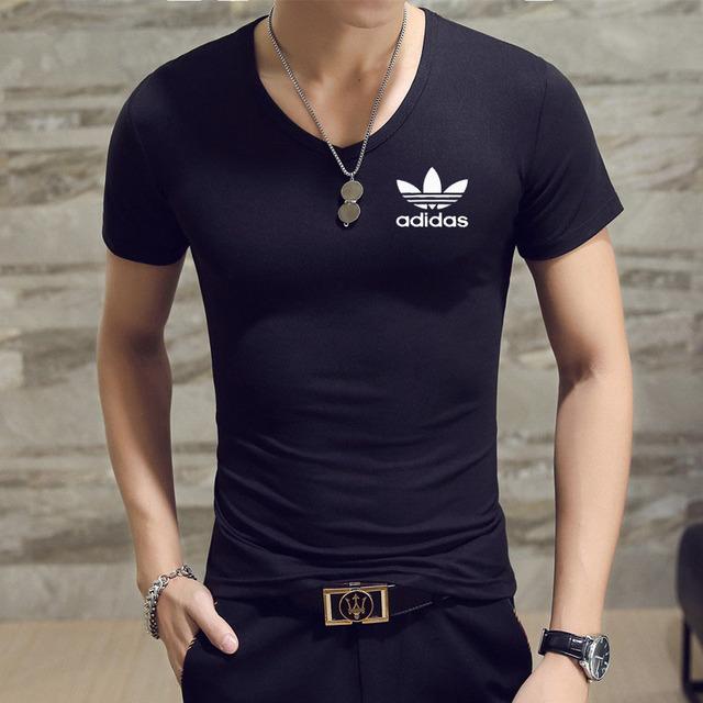 Casual Short sleeve V-neck letter printed t shirt Men KC brand 2019 White Black T shirt mens t shirt