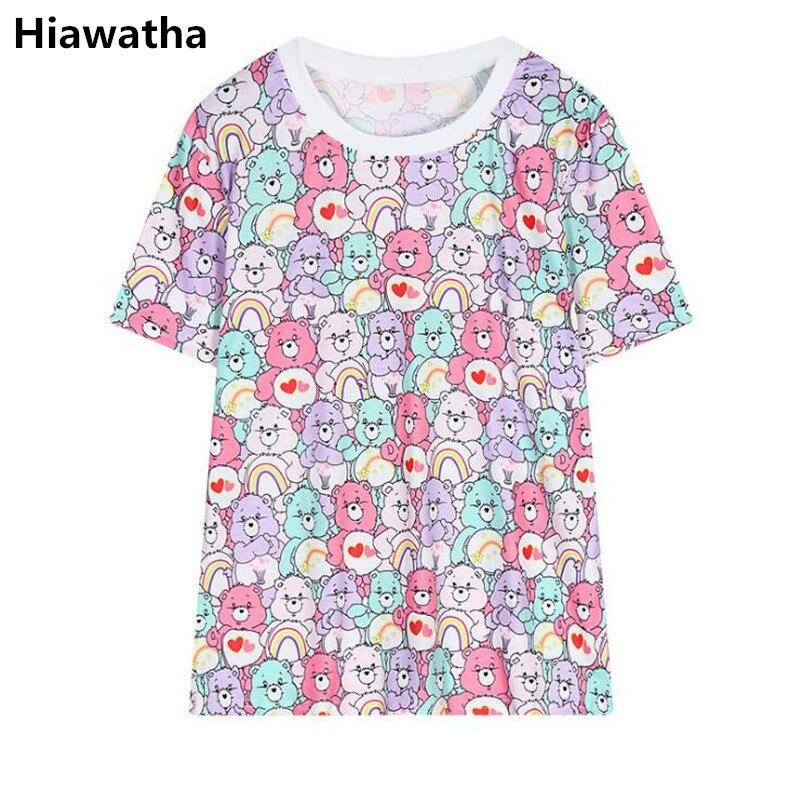 Frauen Kleidung & Zubehör Hiawatha Mädchen Cartoon Bär Printed T-shirt Sommer Harajuku Stil Lose Kurzarm T Shirts Frauen O-ansatz Oberseiten-stück T3271