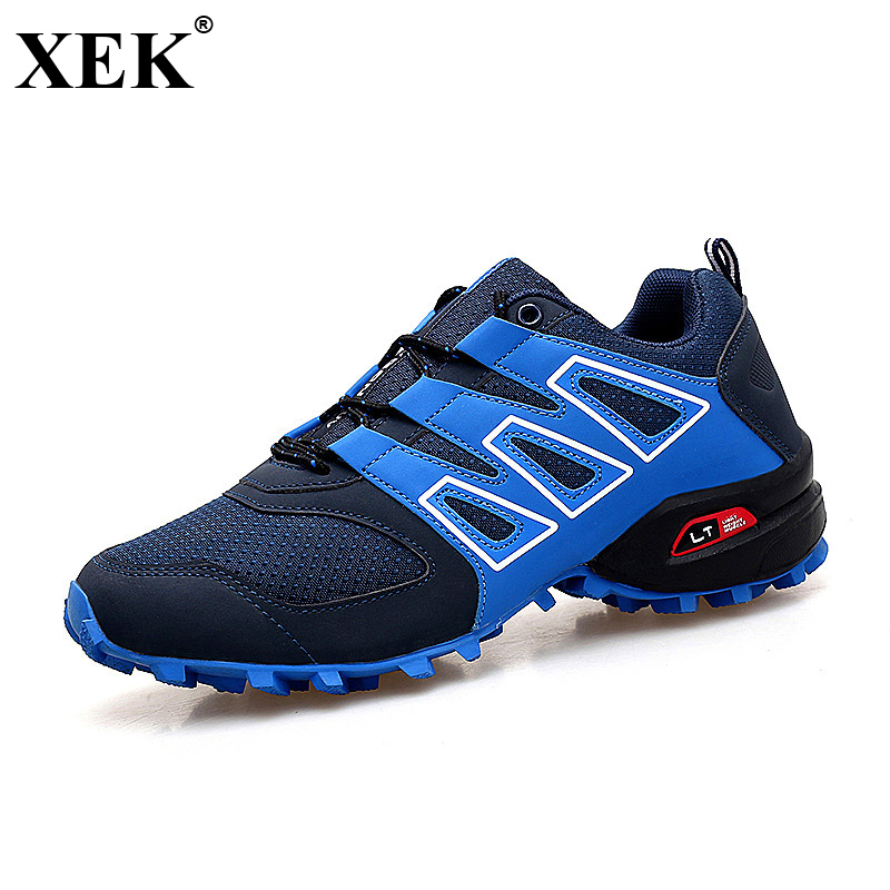 XEK 2018 New Men Sports Shoes Black Red White Solomons Comfortable Breathable Shoes Running Sneakers Men 39-46 Speedcros JH159