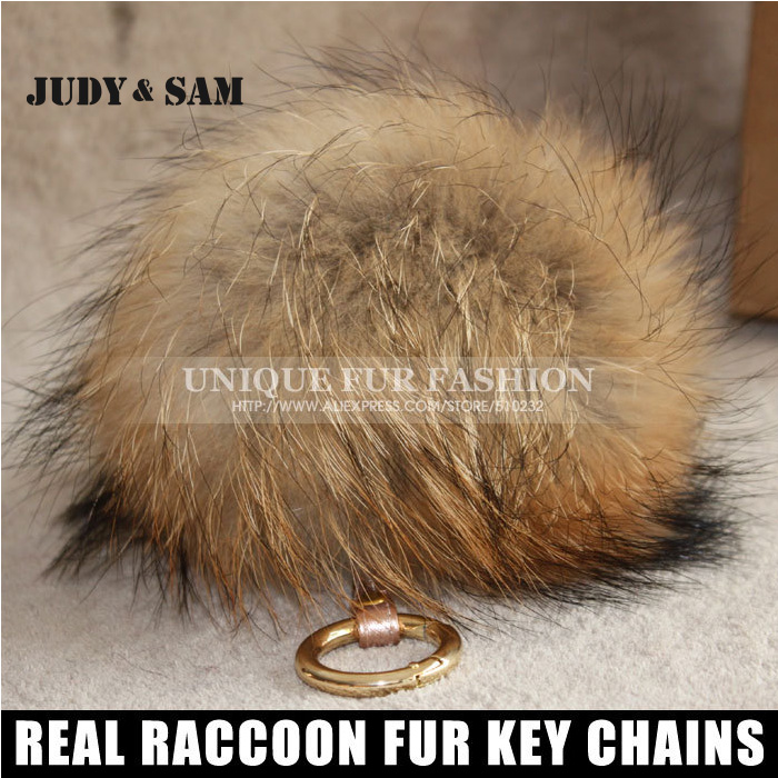 2015 Brand New Design Charm Bag Real Raccoon Fur Pom Accessories Mixed Colors Big Size Ball