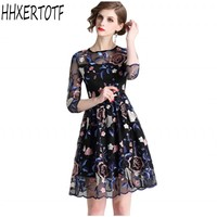 Vintage Court Retro Embroidery Ball Gown Dress Women 2019 Spring Flower Floral Dresses Special Occasion New Vestidos