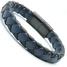 Fashion Braided Blue Leather Bracelet Black Stainless Steel Magnetic Clasp Wrap Leather Bracelets Jewelry For Men bracelets for men women fashion stainless steel jewelry magnetic buckle handmade genuine braided bracelet