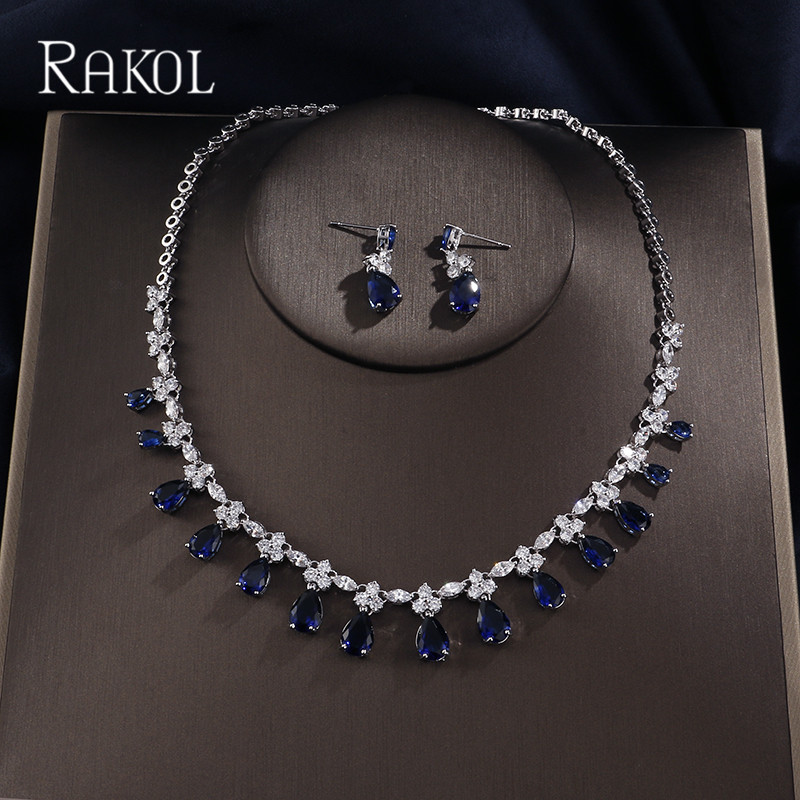 RAKOL Dubai Luxury AAA Cubic Zircon Water Drop  Wedding Earrings necklace For Women Bridal Jewelry Sets Blue Party AccessoriesRAKOL Dubai Luxury AAA Cubic Zircon Water Drop  Wedding Earrings necklace For Women Bridal Jewelry Sets Blue Party Accessories