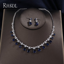 RAKOL Dubai Luxury AAA Cubic Zircon Water Drop  Wedding Earrings necklace For Women Bridal Jewelry Sets Blue Party Accessories недорого