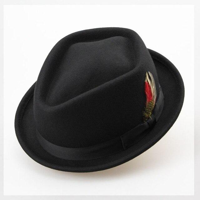 582e8ce3e79 Vintage Pure Wool Felt Men Winter Hat 60CM Big Small Size Floppy Feather  Jazz Hat Fashion Flat Strip Bow Male Hat Sombrero Cap