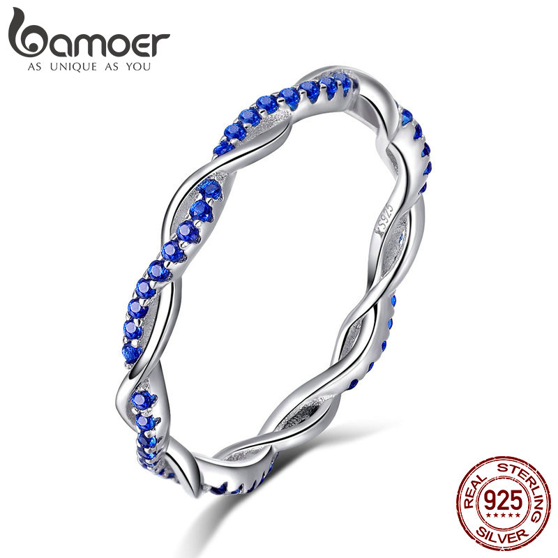 BAMOER New Arrival 925 Sterling Silver Ring Twisted Line Round Blue CZ Finger Rings