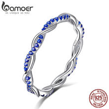 BAMOER New Arrival 925 Sterling Silver Ring Twisted Line Round Blue CZ Finger Rings for Women Wedding Engagement Jewelry SCR402(China)