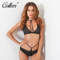 COLLEER 2018 New Women Bar Set Burst High Grade Embroidery Gauze Female Sexy Lingerie Set Underwear