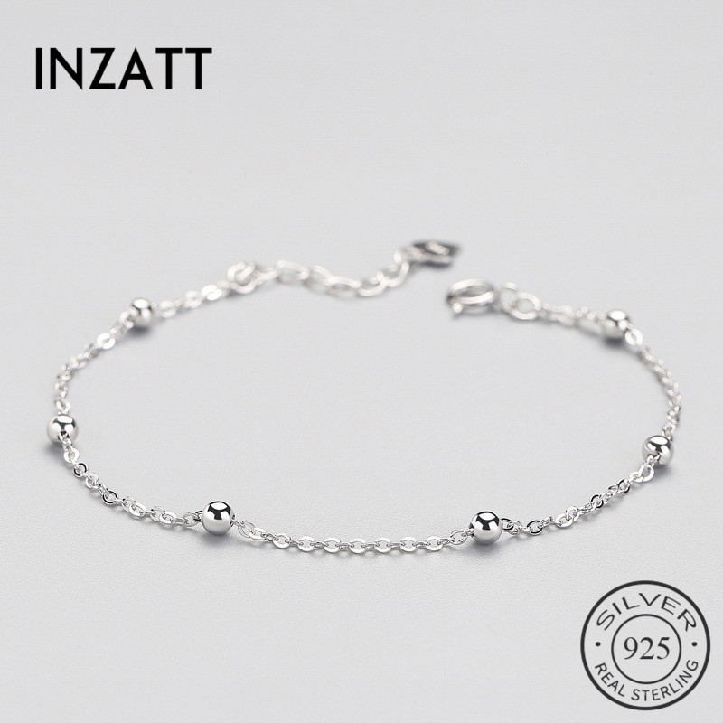 INZATT Real 925 Sterling Silver Spacer Bead Chain Bracelet Minimalist Fine Jewelry For Women Birthday Party Accessories Gift 4