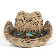 61eb772cc2e 100% Natural Straw Cowboy Hat Women Men Handmade Weave Cowboy Hats For Lady  Tassel Summer
