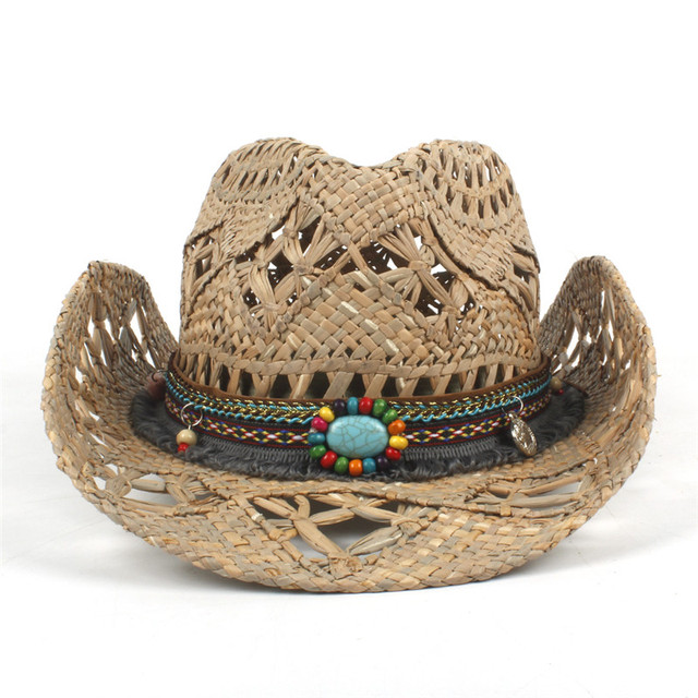 100% Natural Straw Cowboy Hat Women Men Handmade Weave Cowboy Hats For Lady Tassel Summer Western Sombrero Hombre Lifeguard Hats