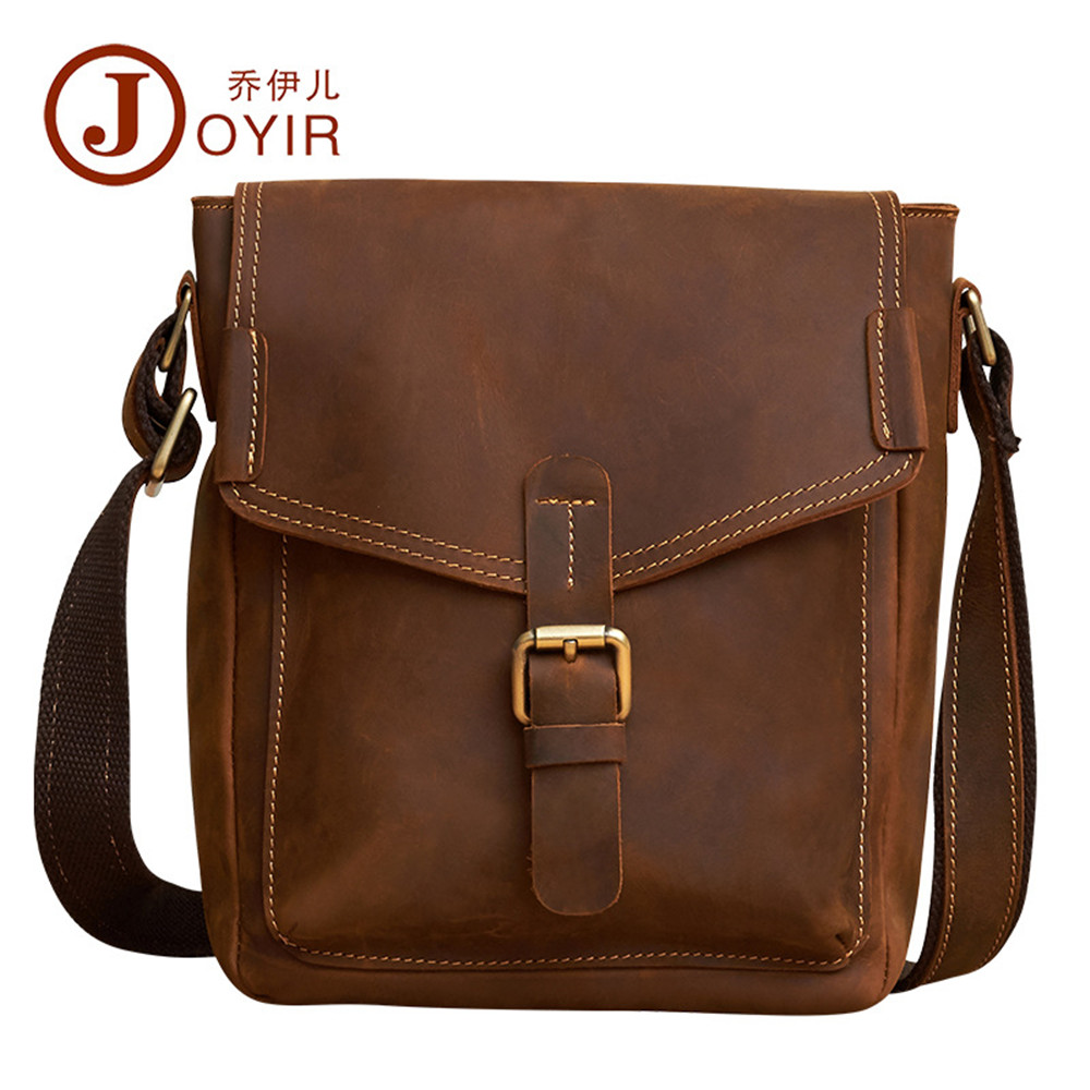 JOYIR Genuine Leather Men Bags Vintage handmade men's Messenger Bag flap Shoulder Crossbody Bags Male Man Casual tote Handbags neweekend genuine leather bag men bags shoulder crossbody bags messenger small flap casual handbags male leather bag new 5867