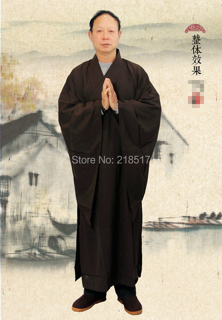 Brown Zen Buddhist Robe Lay Monk Meditation Gown Monk Training ...