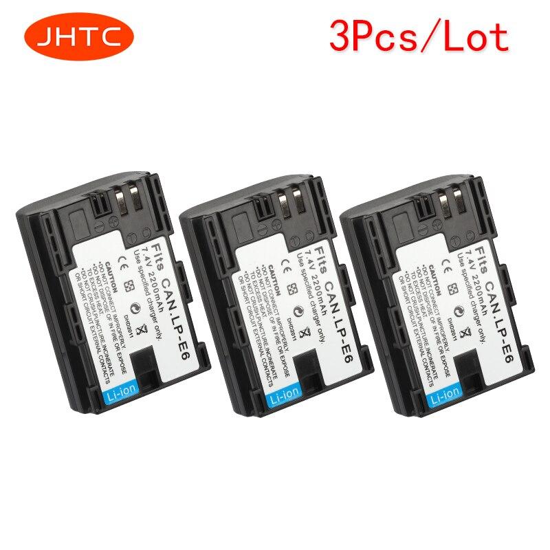 JHTC 3pcs/lot 2200mAh LP E6 LP E6 LP E6N Camera Battery