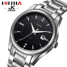 FOTINA Luxury Brand JK Black Watch Steel Business Watch Waterproof Clock Day Date Quartz Watch Men Black Dress Relogio Masculino