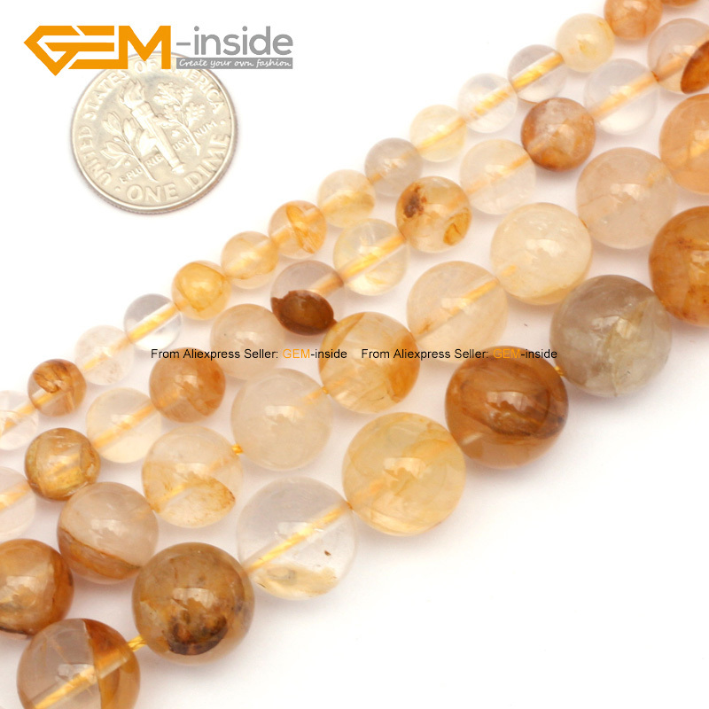 Natural Yellow Rutilated Quartz Smooth Beads For Jewelry Making 6-12mm 15inches DIY Jewellery Free Shipping Wholesale Gem-inside