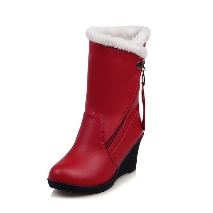 ФОТО 2016 Winter Boots Spuer  Big Size 30-52 Women's Shoes Gladiator Winter Snow Boots Fashion High Heel Warm boots  X-1573