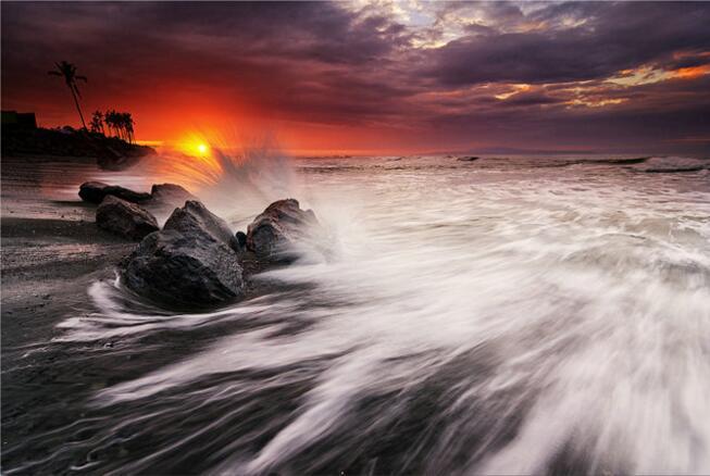 Sunset-ทรอปิคอลบีชคลื่นมหาสมุทรทะ